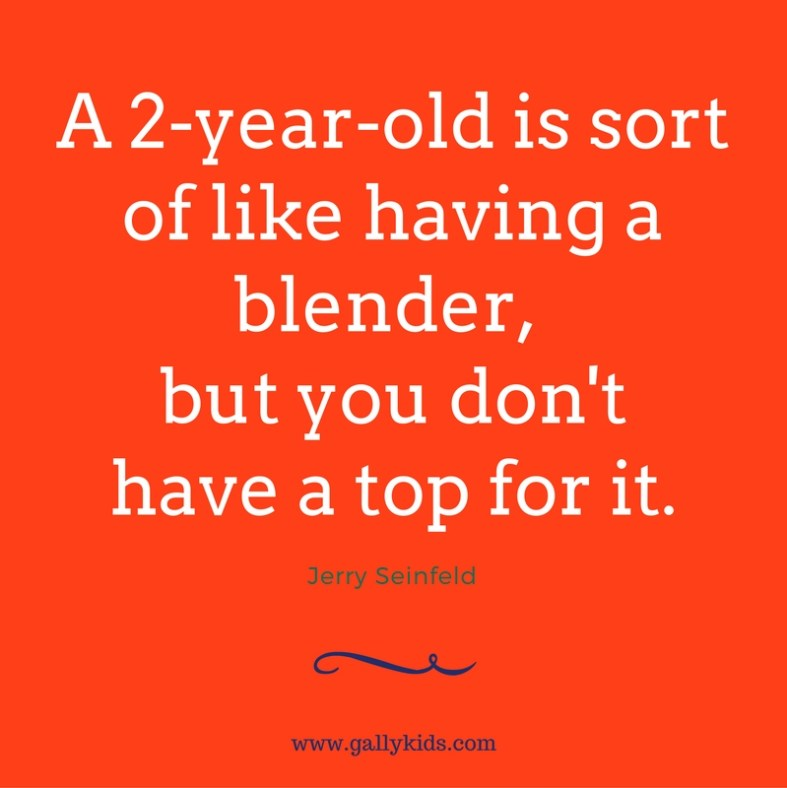 A 2-year old is sort of like having a blender, but you don't have a top for it. - Jerry Seinfeld-