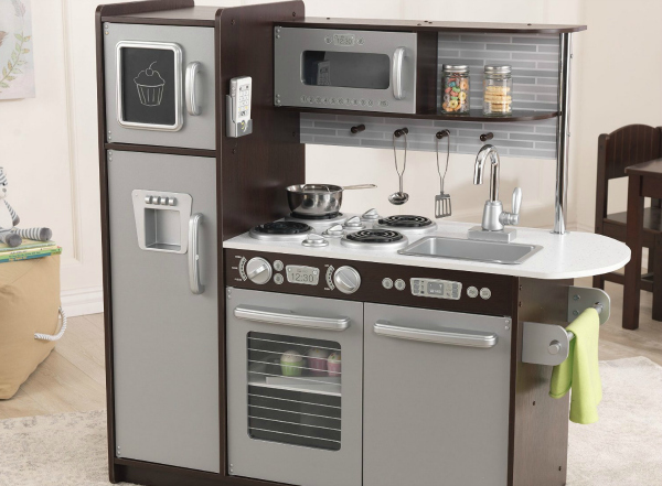 Kidkraft Espresso Color Play Kitchen - made in the USA with very realistic features.