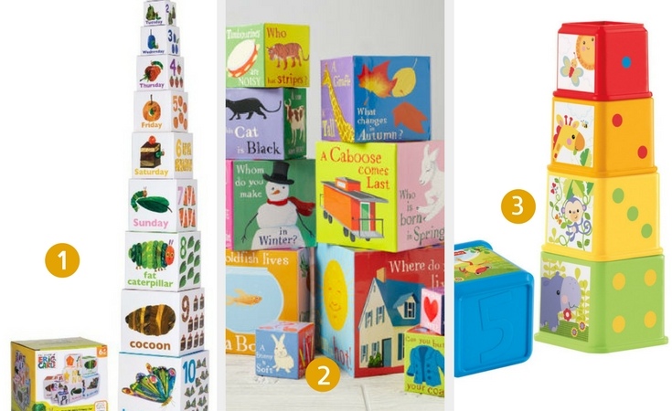 Three of the best stacking blocks for babies. 1. Very Hungry Caterpillar blocks 2. Tower of babble blocks 3. Fisher-Price Stack and explore