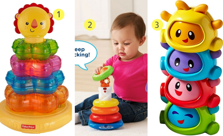 Best suite for babies, these three musical stacking toys are sure to entertain your baby and develop important skills. 1). Fisher Price light up lion Stacker 2. Vtech Stack and Sing Rings. 3. Fisher price Build a beat