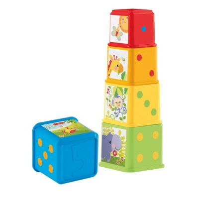 Classic stacking toy by Fisher-Price. Each block has different colors and pictures.