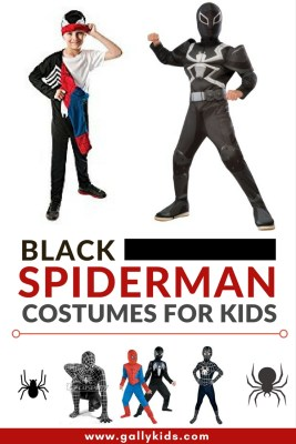Some of the best designs for a black Spiderman costume for kids. Looks very realistic. And one is even reversible for those times when your child wants to revert back to the classic blue and red Spiderman.