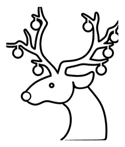Christmas reindeer face to color. cute and unique