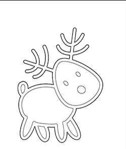 Cute reindeer to color for kids.