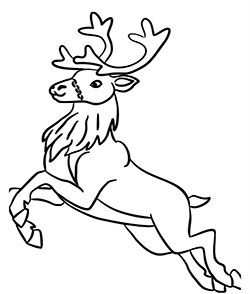 a realistic looking flying reinder coloring sheet for kids this christmas