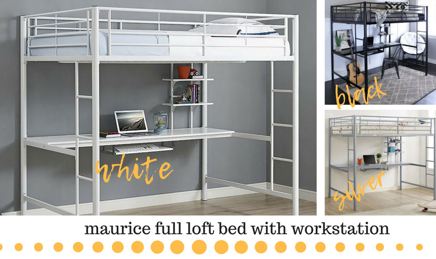 White loft bed with a workstation underneath it. The work area includes a desk, shelves and a sliding desk for keyboard. This is also available in black and silver