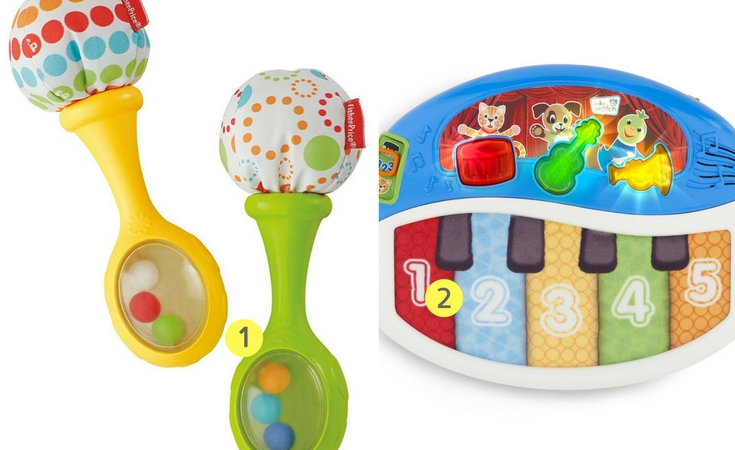 A great way to get kids familiar with musical instruments. These are the Fisher Price maracas and the baby einstein discover and play piano.