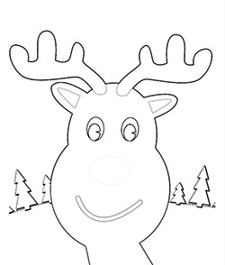 A very cute reindeer face to colour for kids. Part of four different colouring sheets with reindeer faces.