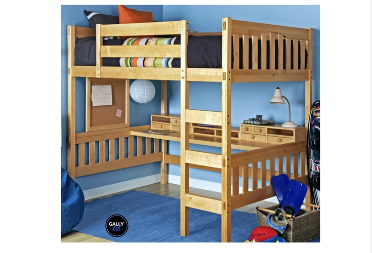 find a full size loft bed with desk underneath perfect for small spaces. Black Bedroom Furniture Sets. Home Design Ideas