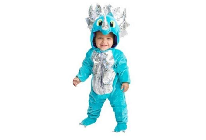 Blue triceratops dinosaur costume for toddlers.