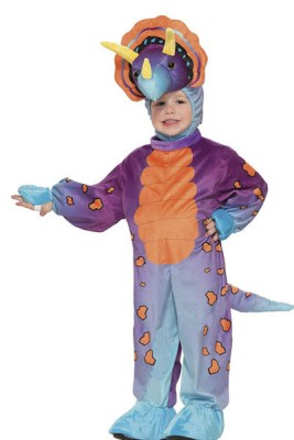 Blue, purple and orange dino -- This is the funky dinosaur! It's not often you find a costume in this color, but that's why he's funky. Parents love the quality and the feel of this outfit.