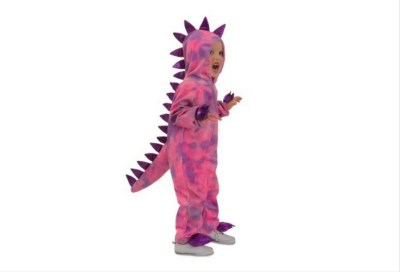 Pink dinosaur costume for toddlers with purple spots and spike.