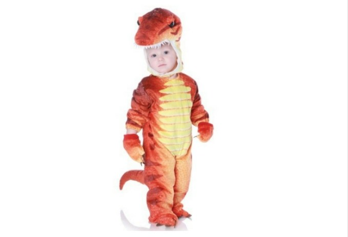 Red Orange Trex Dinosaur costume for toddlers. A different color from the usual green t-rex. But it sure is very clear and vibrant.
