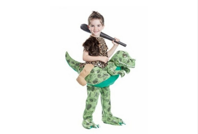Ride On Dinsoaur Costume.  Kids would love this. And look at those little legs astride on a dinosaur. So funny