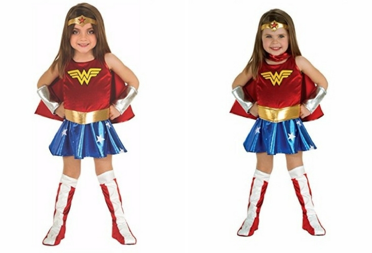 A complete set of Wonder Woman Costume for toddlers. Looks cute and is available in 2T, 3T and 4T sizes