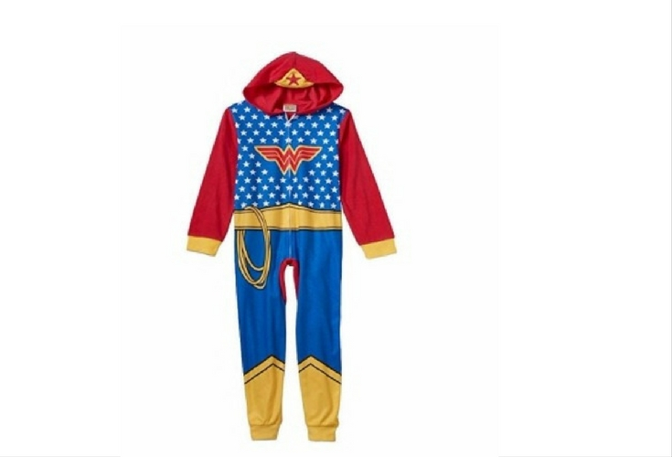 For sleepwear or a Halloween outfit, this Wonder Woman onesie will look adorable on any toddler.