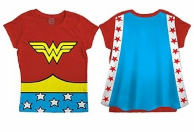 Bright colors for any Wonder Woman fan. Red t-shirt with Wonder Woman logo and drawing  of the belt and a blue strip with white stars. PLUS a Wonder Woman cape in the back.