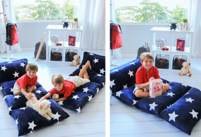 A mat lounger for movie nights or when friends come for a visit.