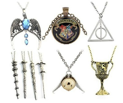 9 Different harry potter necklace designs. You can wear a different 1 for everyday of the week. Harry Potter fans would love this.