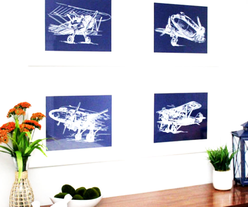 4 different sketches of vintage airplanes. Downloadable