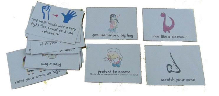 Acton cards that are great for small spaces.  Get kids moving even when in a car seat or on a flight.