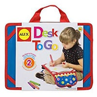 Desk to go-. Just the right size for laps but you can also use it on airplane tables . Comes with a zipped pocket for storing pens and other art stuff.