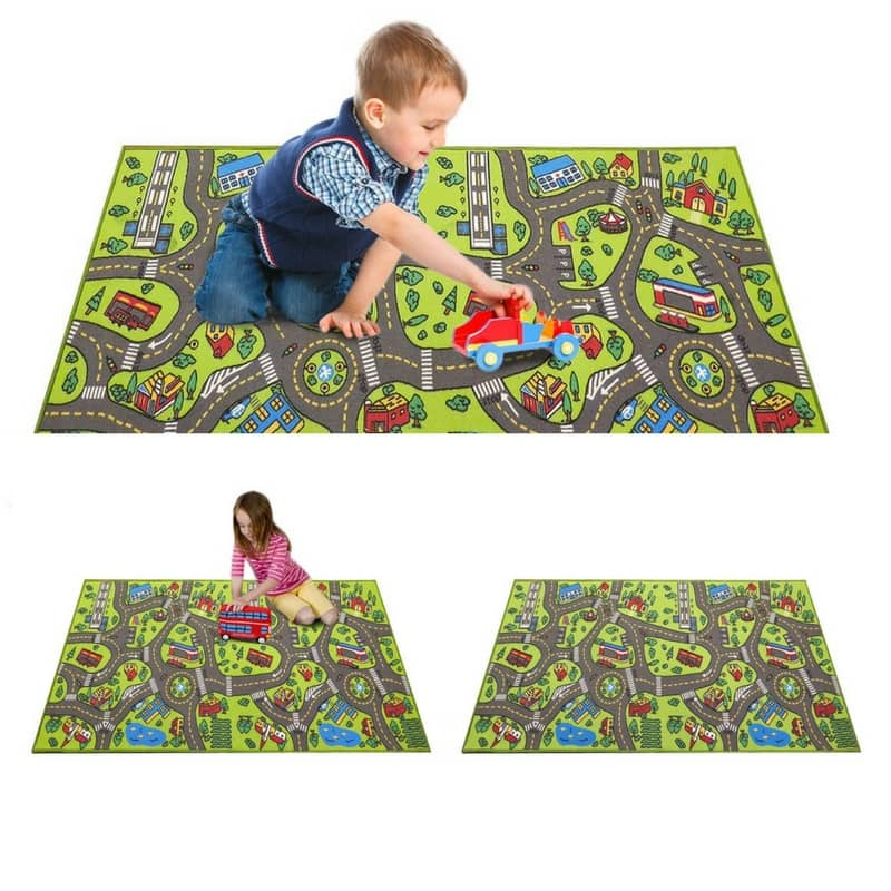 Angels Road Rug Play mat. a boy and a girl playing with the large Angel's road rug. This is a nice addition to the bedroom of toddlers or preschoolers.
