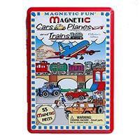 A magnetic tin with cars and planes for kids to take on long car journeys.