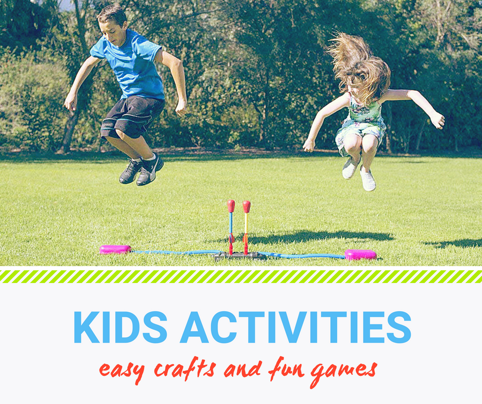 Easy crafts and fun games for kids. A boy and a girl jumping in the air to play with a stomp rocket - a great toy to test Physics concepts