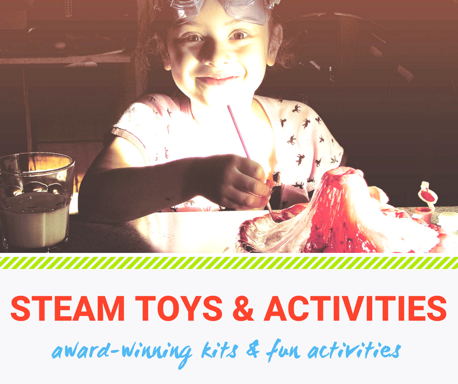 Award winning kits and fun activities for practicing STEAM at home: This little girl is playing with a toy volcano.
