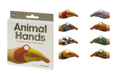 Different types of temporary hand tattoos for kids. Includes giraffe, zebra, alligator, bee, cow and more