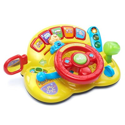 a fun electronic toy for toddlers. The good thing about this Vtech turn and learn is that it's portable. You can easily take this with you in the car for long car trips. Yes, it will be noisy in the car, but your boy will be entertained in the back and having fun too!