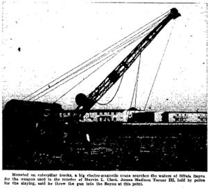 Galveston police used a giant magnet mounted on a crane to search Offats Bayou for the gun used to kill grocer Marvin Clark. A fisherman found Clark's gun but never did find the murder weapon, or the metal box Clark used to carry home his store's daily cash receipts. (The Galveston Daily News)