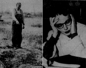 """Morris Johnson points to the site where he buried four packages of """"spoiled venison"""" for Ann Williams, pictured right, shortly after she confessed to killing her two children. (The Galveston Daily News)"""