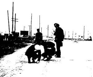 Texas City police investigate the scene of a double murder near the intersection of Loop 197 and Hwy. 3 in 1971. (The Galveston Daily News)