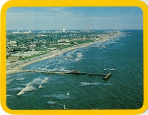 An aerial photo of the seawall taken in 1977. (Photo courtesy of the Galveston and Texas History Center, Rosenberg Library, Galveston, Texas)