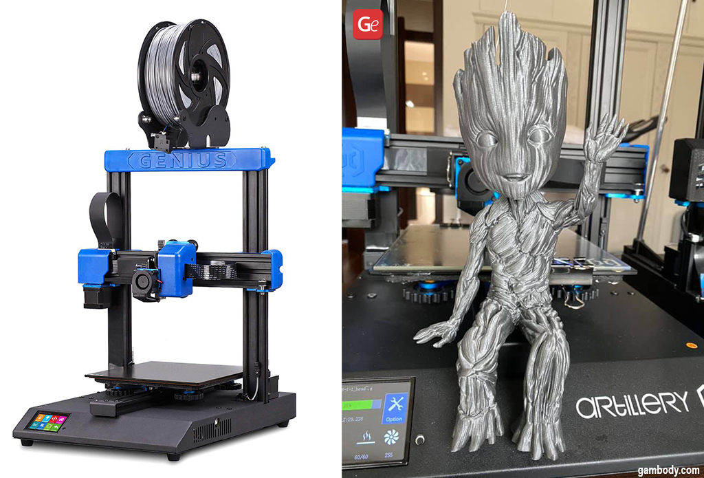 Groot figurine partly made on Artillery Genius cheap 3D printer