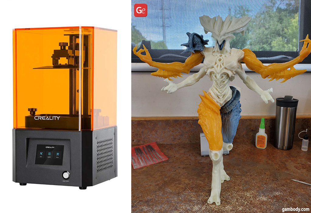 Cheap resin 3D printer LD-002R and Diablo figurine made on it
