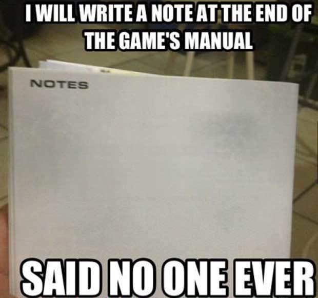 Notizen auf einer Games Anleitung