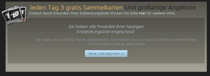 Steam Winter Sale 2015 - Sammelkarten