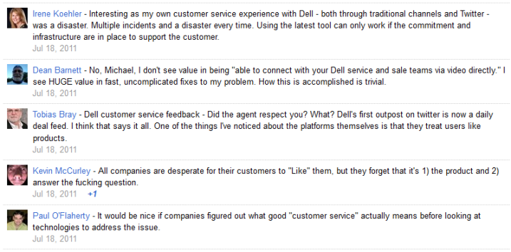 customer service dell google+
