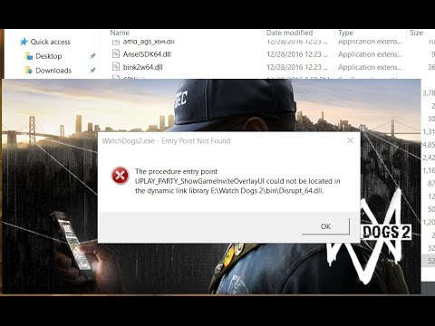 Watch Dogs 2 Entry Point Not Found error