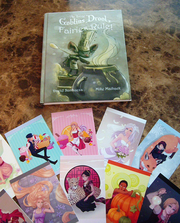 The Art of Goblins Drool, Fairies Rule! art book, and fairy tale postcards