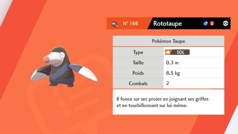 Solution pokemon épée et bouclier, mine de galar emplacement rototaupe