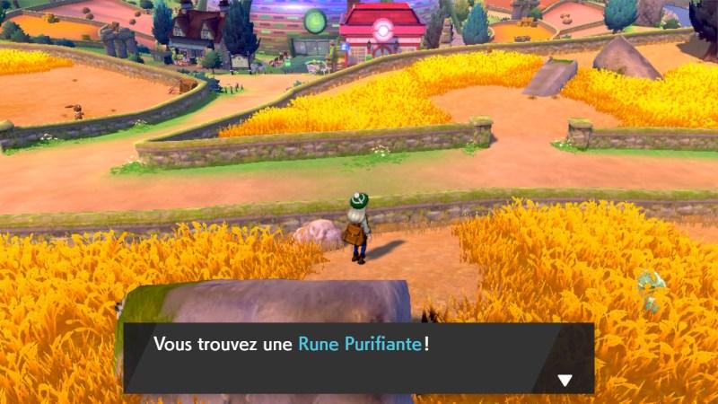 soluce, route 4 pokemon épée et bouclier, solution emplacement pokemon et liste objets rune purifiante