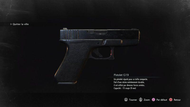 resident evil 3 remake, soluce et guide des armes, pistolet G19 emplacement