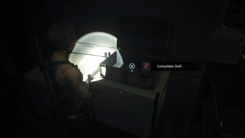 resident evil 3 remake, soluce et guide des arme, cartouchière fusil à pompe M3 emplacement
