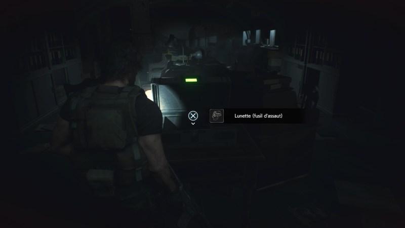 resident evil 3 remake, soluce et guide des arme, lunette fusil d'assaut cqrb emplacement