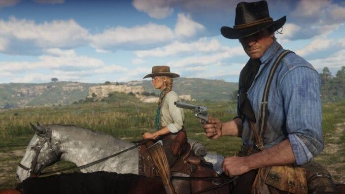 Red Dead Redemption 2: Sadie and Arthur on horseback