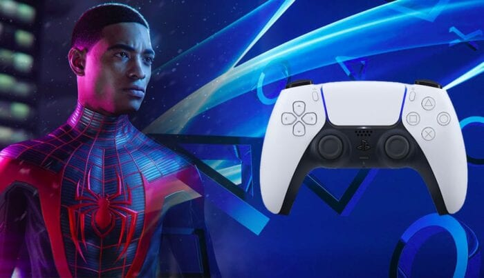 Split screen of playstation 5 and miles morales